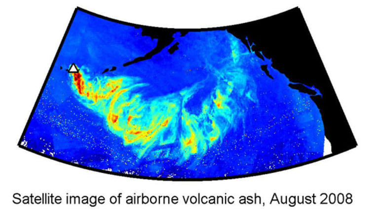 A map of the path of volcanic ash from the August 2008 eruption of the Kasatochi volcano in the Aleutian Islands.